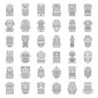 Tiki idole icon set. umreißsatz tiki idole-vektorikonen