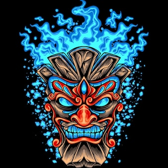 Tiki-kopf mit blauem feuer