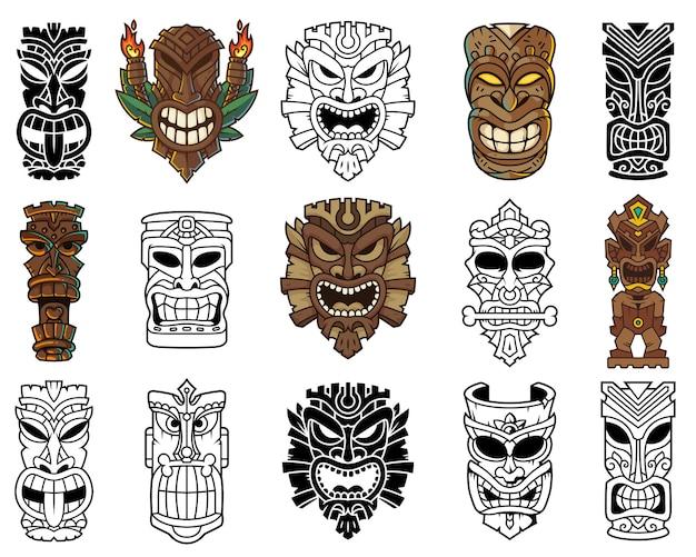 Tiki-kopfmaske und skulptur-illustrationsset