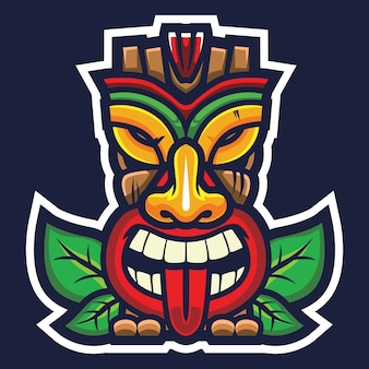Tiki mask esport logo illustration