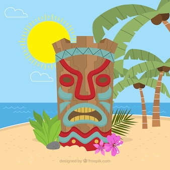 Tiki maske am strand