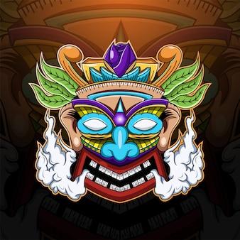 Tiki maske esport maskottchen logo