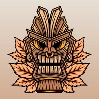 Tiki-maske mit ahornblatt.