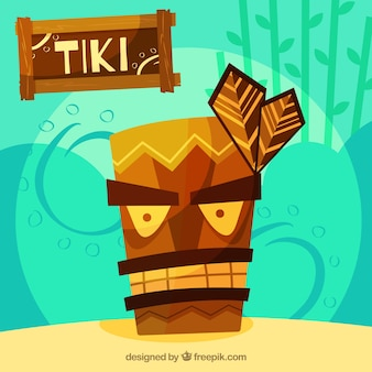 Tiki maske mit ethnischem stil