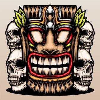 Tiki-maske mit schädel.