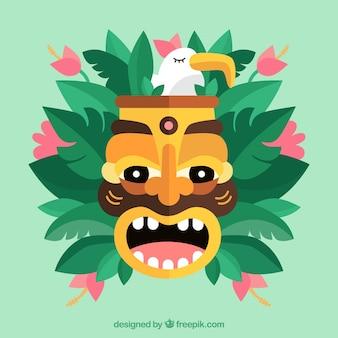 Tiki maske, pflanzen und möwe