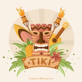 Tiki maske und tropische elemente