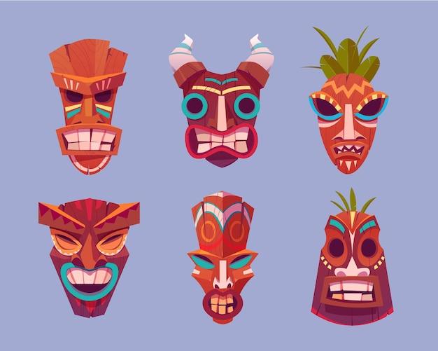 Tiki-masken gesetzt