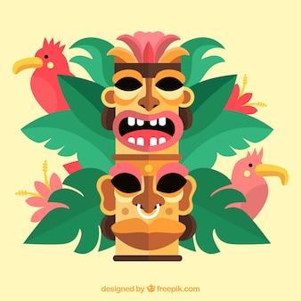 Tiki masken, papageien und pflanzen