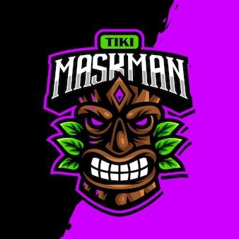 Tiki maskottchen logo esport gaming