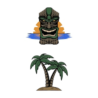 Tiki-paradies mit kokosnussbaum-vektorillustration