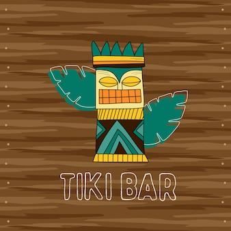 Tiki-stammes-holzmaske, schild der bar. traditionelle hawaiianische elemente