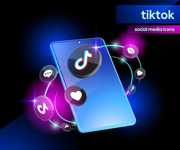 Tiktok 3d-logo-symbole mit smartphone ausgefeilt