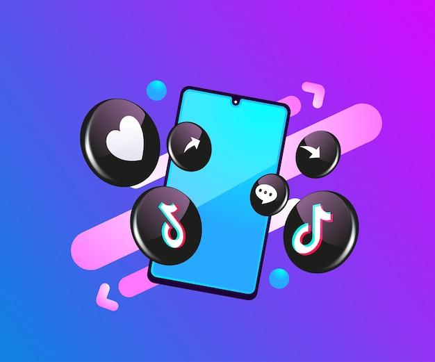 Tiktok 3d soziale mediensymbole mit smartphone-symbol