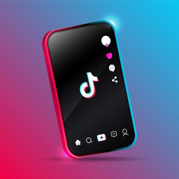 Tiktok-anwendungsdesign auf einem smartphone.