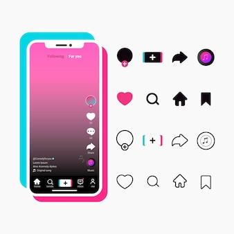 Tiktok app-oberfläche mit schaltflächensammlung