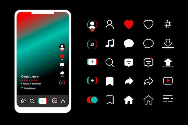 Tiktok app-oberfläche mit symbolsammlung