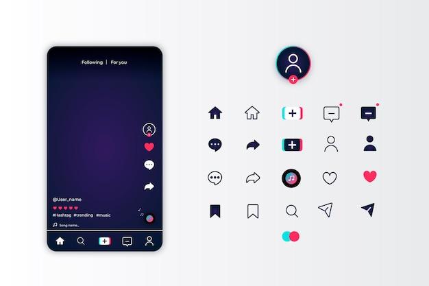 Tiktok app-oberfläche und icon-set