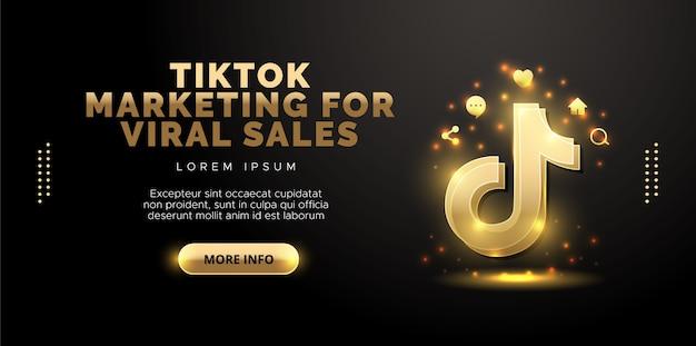 Tiktok-entwurf in gold auf schwarzem hintergrund