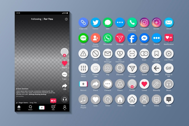 Tiktok-oberfläche und smartphone-apps