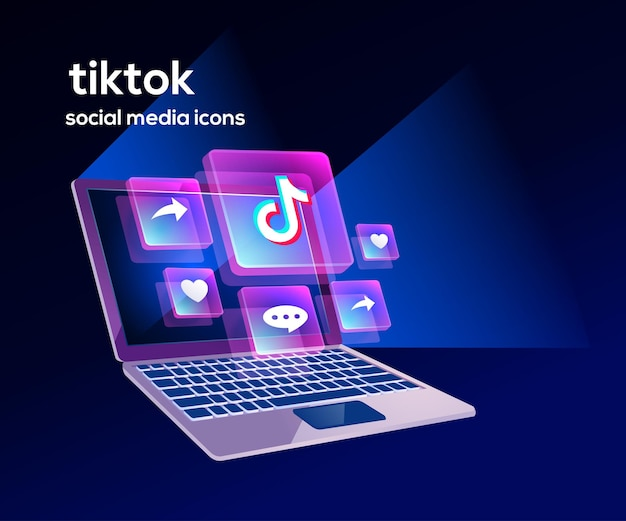 Tiktok social media icons mit laptop-symbol
