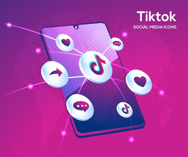 Tiktok social media icons mit smartphone-symbol