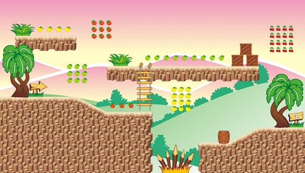 Tileset-plattform und hintergrund für das erstellen von mobilen spielen