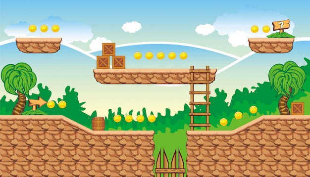 Tileset-plattform zum erstellen eines mobilen spiels