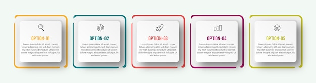 Timeline bunte infografik-vorlage mit schritten