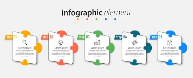 Timeline-diagramm fünf schritte business-infografiken