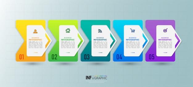 Timeline infografik 5 schritte.