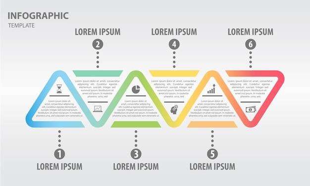 Timeline infografik 6 optionen dreiecke stile