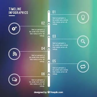 Timeline infografik auf gradienten bacground