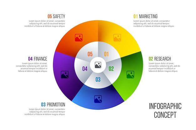 Timeline infografik design. geschäftskonzept mit 5 optionen, schritten oder prozessen.