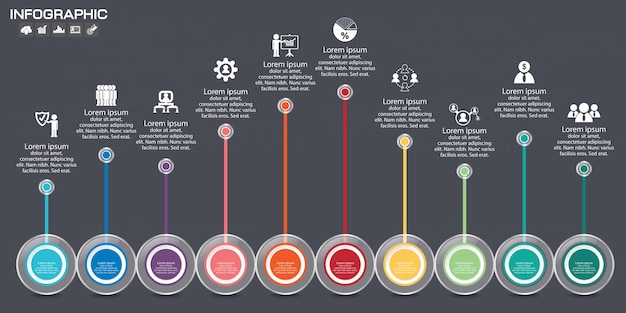 Timeline infografik diagramm designvorlage.