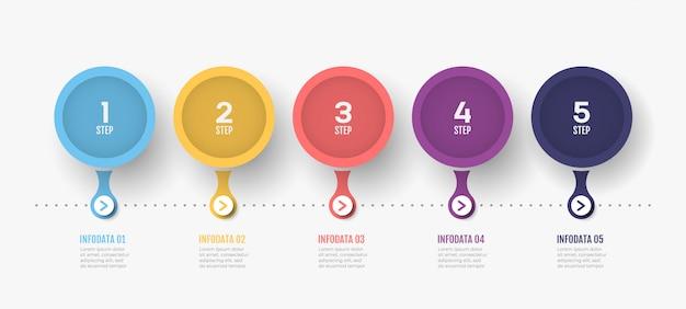 Timeline infografik-etikettendesign mit kreisen und zahlenoptionen.