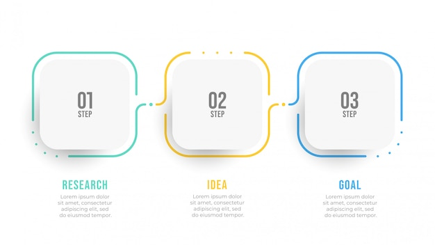 Timeline-infografik-etikettendesign mit nummernschritten. geschäftskonzept mit 3 optionen.