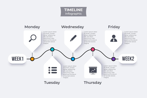 Timeline infografik flach