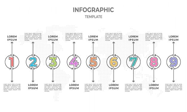 Timeline-infografik mit kreis und 9 optionen.