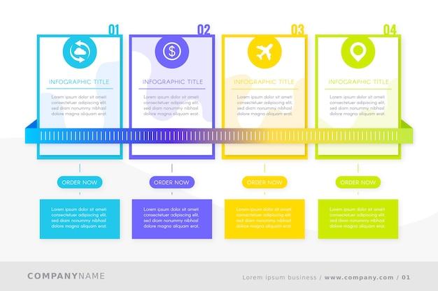 Timeline-infografik mit verschiedenen farben