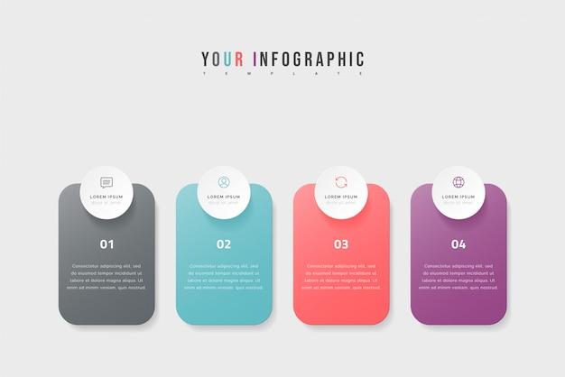 Timeline-infografik mit vier optionen, schritten oder prozessen. buntes schablonendesign