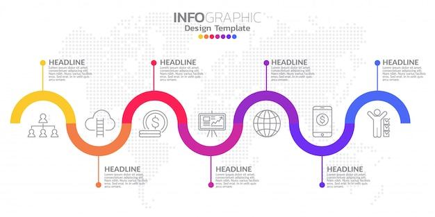 Timeline infografik template-design mit farboptionen.