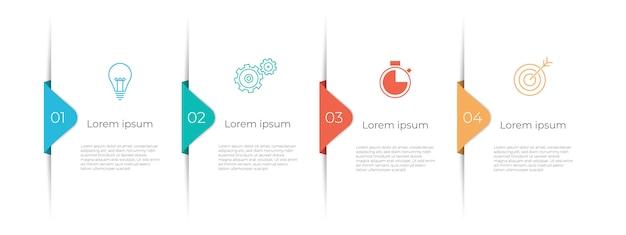 Timeline infografik vorlage 4 optionen.