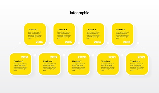 Timeline-infografik-vorlage mit 9 schritten