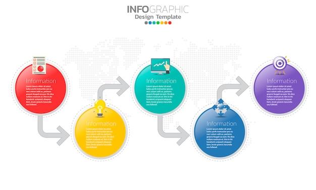 Timeline infografik vorlage mit pfeilen und 5 optionen flaches design