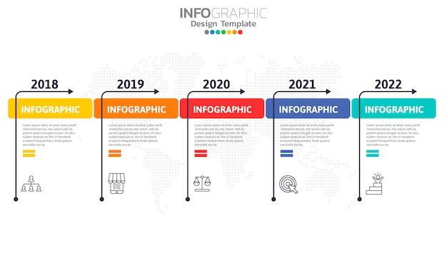 Timeline-infografik-vorlage mit pfeilen und 5 optionen