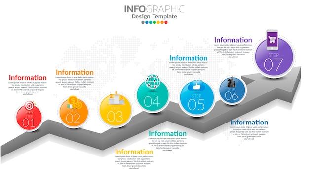 Timeline-infografik-vorlage mit pfeilen und optionen