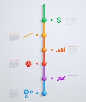 Timeline-infografik-vorlage mit schrittweiser struktur