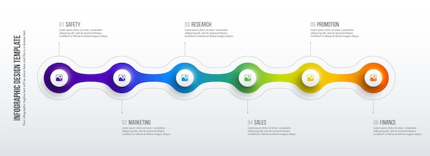 Timeline infografiken design. geschäftskonzept mit 6 optionen, schritten oder prozessen.