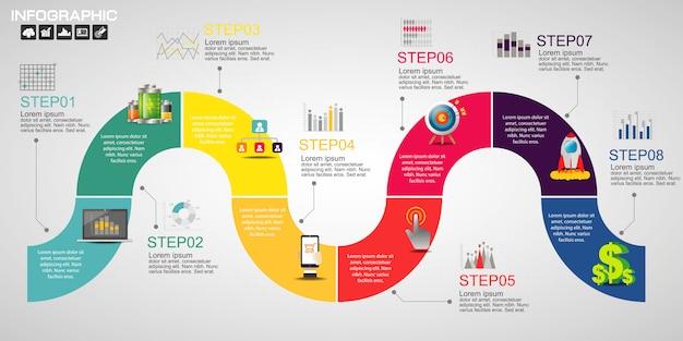 Timeline infografiken designvorlage mit optionen.